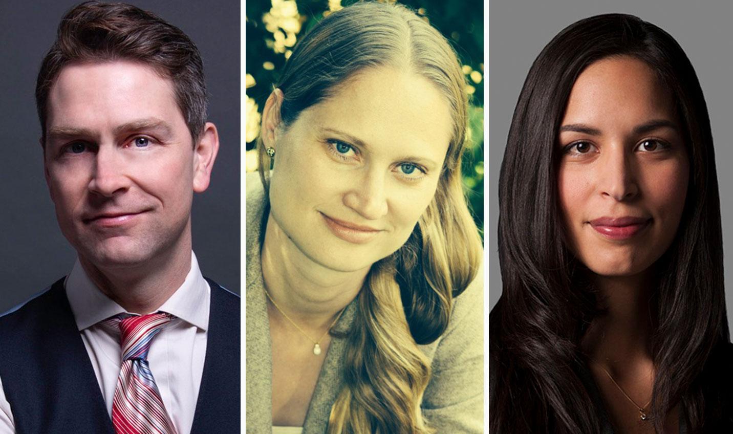 Will Amos, Jen Kalnins, and Julia Croome