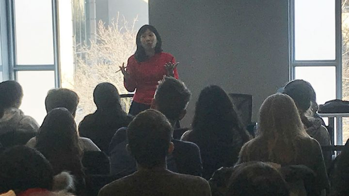 Melissa Yuan-Innes speaking to students