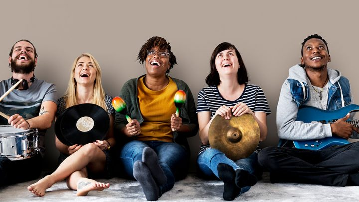 Students posing with instruments